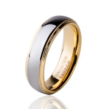 6MM Gold Color Tungsten Carbide Wedding Band Ring Comfort Fit Engagement Jewelry For Men Anillos