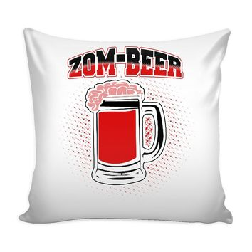 Funny Zombie Graphic Pillow Cover Zom-Beer