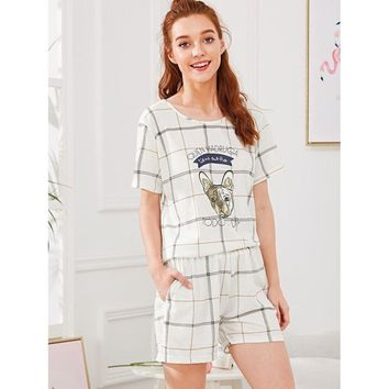 Dog Print Checked Pajama Set