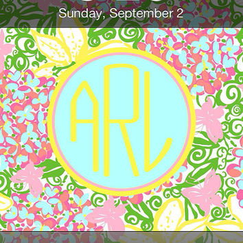 Lilly Pulitzer Inspired Personalized Monogram iPhone Wallpaper -- Mariposa --