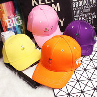 South Korea creative candy-colored fruits free fashion lovers baseball cap snapback free shipping woman shopping 2016snapback