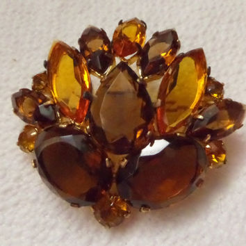 Rhinestone Leaf Brooch Prong Set Brown Topaz Stones Pear Oval Marquis 1950s