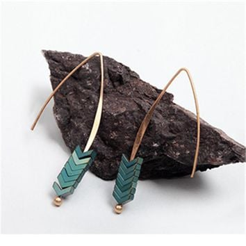 Hot Sale Natural Stone Simple Earings Zinc Alloy Geometric Arrow Earings Fashion Jewelry Bohemian Earrings for Women