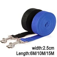 Width 2.5cm Long Nylon Dog Leashes 6M/10M/15M Pet Puppy Training Straps Black/Blue Dogs Lead Rope Belt Leash