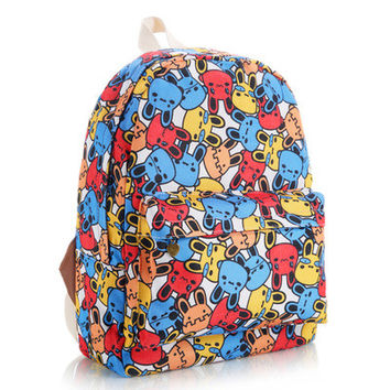 Lovely Stripes Striped Animal Floral Korean Cute Canvas Backpack = 4888029636