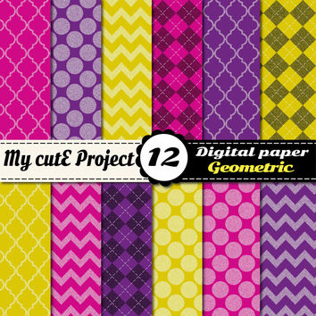 Digital Paper Red, purple, yellow GEOMETRIC | Scrapbooking & graphics |12x12 - A4| Argyle, diamond, stripes, polka dots, chevron, quaterfoil