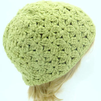 Pretty handmade hat with flowers pattern autumn fashion green warm and cozy accessories crocheted