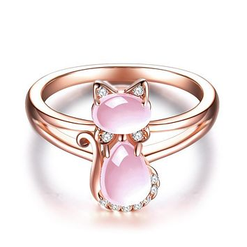 Cute Cat Animal CZ Ross Quartz Crystal Pink Opal Rings