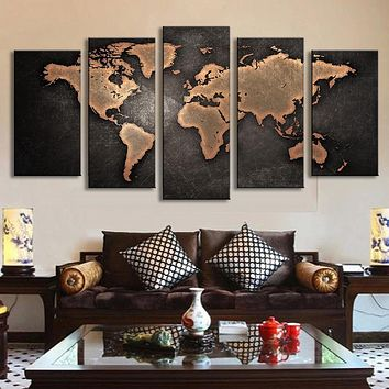 5 Pcs/Set Vintage Abstract Wall Art Painting World Map Print on Canvas Oil Painting Wall Print Picture Living Room Unframed