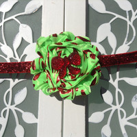 Lime with red damask Christmas headband - holiday headbands for little girls baby and toddlers