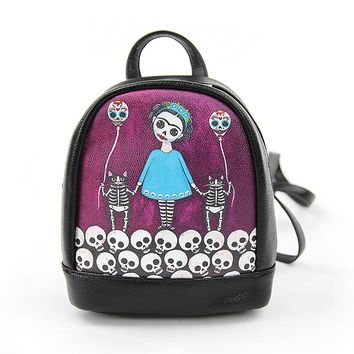 Skeleton Day of the Dead Girl & Cats Mini Fashion Backpack