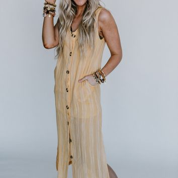 Uncharted Button Down Maxi Dress - Mustard