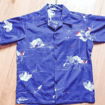 Vintage 1960's Mens Blue Hawaiian Polyester Shirt Made in Hawaii Size Large