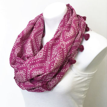 Infinity Scarf, Pink Tasseled, Women Scarf, Gift for Her, infinity Scarf, Cowl Scarf