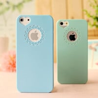 For Apple iPhone Case 4 4S 5 5S 6 6S 6/6S Plus HIgh Quality Candy Color Loving Heart Flower Lace Hard Phone Cases Back Cover