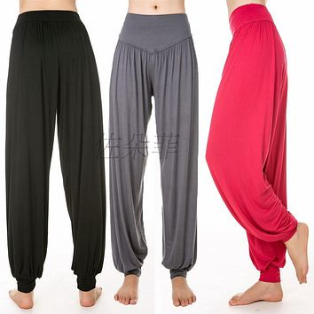 HOT Cotton High Waist Stretch Women Harem Pants S port Pants Flare Pant Dance Club Boho Wide Leg Loose Long Trousers Bloomers P