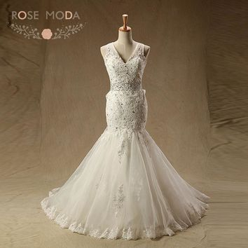 Rose Moda V Neck Mermaid Wedding Dress Criss Cross Back Lace Wedding Dresses Destination Bridal Gown Real Photos
