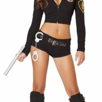 Sexy Two Piece Stretch Cop Girl Halloween Costume