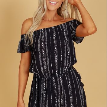 Short Sleeve Off The Shoulder Print Romper Navy