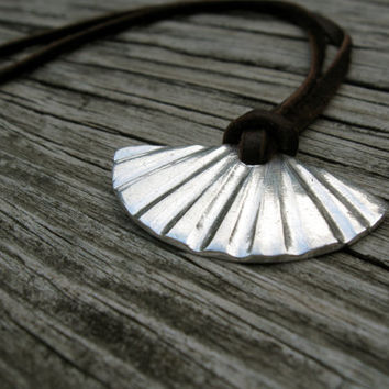 Silver fan necklace with brown leather cord, geometric necklace, abstract sun rays, modern boho - linear, fluted, grooves, ridges, pleated