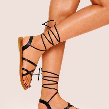 Strappy Gladiator Lace-up Sandals