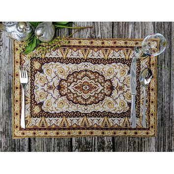 """DaDa Bedding Royal Persian Rug Golden Floral Placemats, Set of 4 Tapestry 13"""" x 19"""" (18119)"""