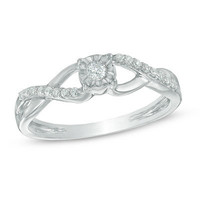 1/10 CT. T.W. Diamond Split Shank Promise Ring in 10K White Gold - Save on Select Styles - Zales