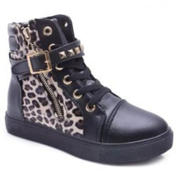 Fashion Leopard Print and Rivets Design Women's Ankle Boots