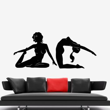 Vinyl Wall Decal Yoga Centre Meditation Pose Naked Girls Stickers Unique Gift (818ig)