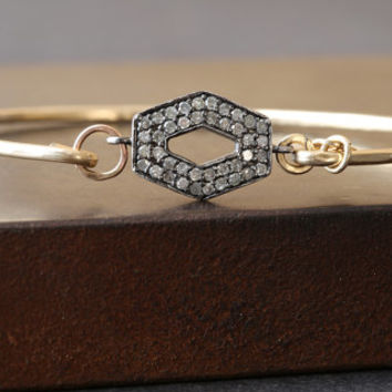 Pave Diamond Hex Bracelet