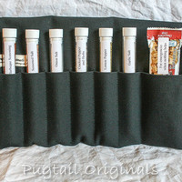 Spices in a roll up travel kit - Personalized Meal Improvement Kit - Black - Camping, Hunting, Fishing, Backpacking, Military.