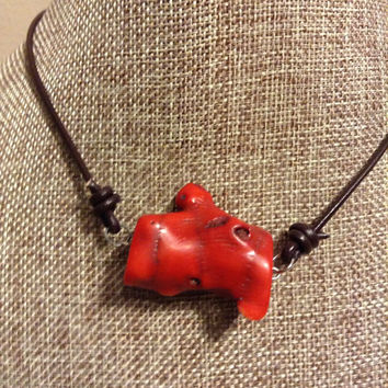 Red Coral Leather Necklace Natural Red Bamboo Coral Stone Dark Brown Leather Knot Choker
