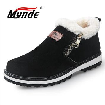 Mynde 2018 New Arrival Fashion Winter Men's Boots Wear Resistant Handmade Ankle Boots Warm Working Boot Zipper Men Casual Shoes