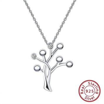 S925 Sterling Silver Christmas Tree Pendant Necklace