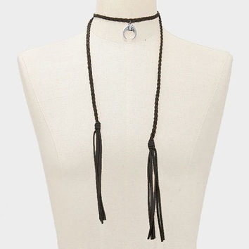 Boho Black Braided Twist Suede Silver Double Horn Crystal Rhinestone Pendant Tassel Necklace