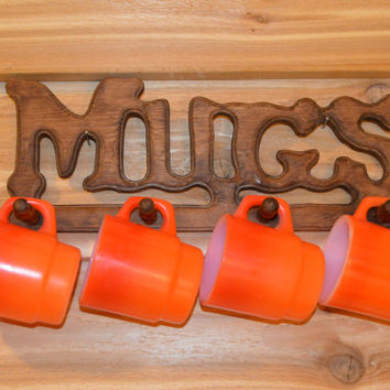 Vintage Mug Rack, Mugs Sign, Coffee Mug Rack, Mug Display, Mug Sign, Hanging Mug Sign, Retro, Wooden, Coffee Cup Display