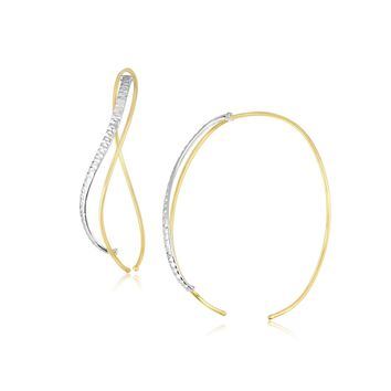 14K Two-Tone Gold Twisted Hoop Style Textured and Smooth Earrings