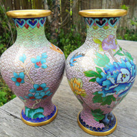 Pair Vintage Cloisonné Vases in Ombre Gradient Mauve, Lime and Cobalt