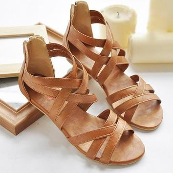 34-43plus size SUMMER women's bohemian cross straps flat shoes large size Roman back z