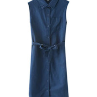 Blue Lace Up Sleeveless Collar Button Down Dress