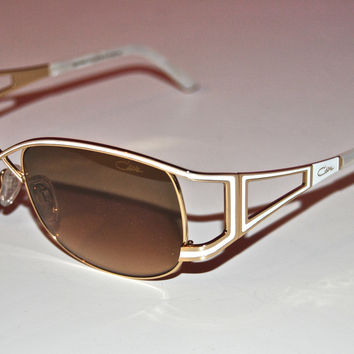 Cazal Mod 9048 White Gold Metal Sunglasses New