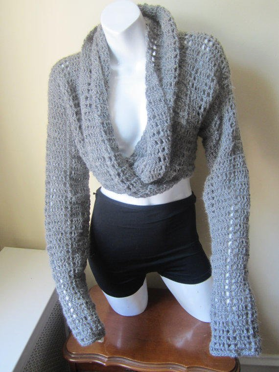 Cropped Sweater Drape Wrap Around From Elegantcrochets