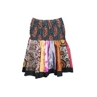 Mogul Colorful Flare Mini Skirt High Waist A-Line Gypsy Hippie Chic Printed Flowy Silk Skater Skirts - Walmart.com