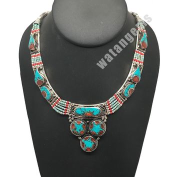 Ethnic Tribal Nepalese tribal Green Turquoise & Red Coral Inlay Necklace, E267