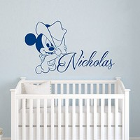 Wall Decals Personalized Name Mickey Mouse Vinyl Sticker Decal Custom Name Girls Boys Initial Monogram Children Baby Decor Nursery Kids Room Bedroom Art NS875