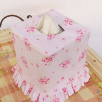 Shabby chic pink rose ruffled tissue box cover