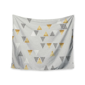 "Nick Atkinson ""Triangle Love"" Gray Gold Wall Tapestry"