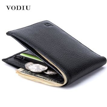 2017 Minimalist Vintage Designer Genuine Leather Men Slim Thin Mini Wallet Male Small Purse Money Clip Credit Card Dollar Price