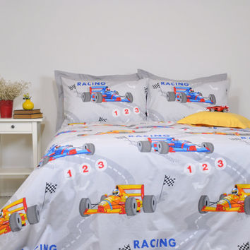 Formula 1 Race Car Duvet Cover Set, Twin Twin XL Full Queen, Gray Blue Yellow Red Racing Cars Print Bedding Set, Duvet Cover & Pillowcases
