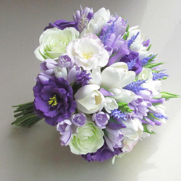 Freesia, eustoma, tulip, rose, lavender bridal bouquet. Lilac, Pale Lavender, White wedding bouquet